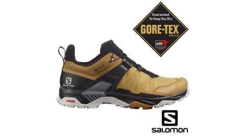 【Salomon】登山鞋 男 X ULTRA 4 低筒 GORETEX 防水 孜然黃/黑/月球岩灰 L41385500