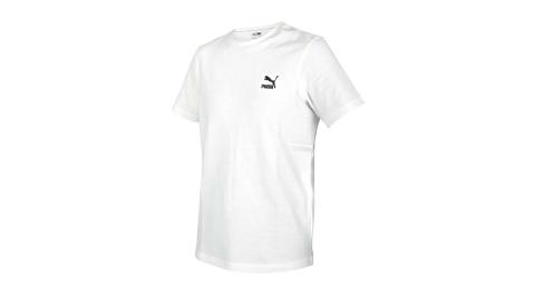 PUMA 男刺繡短袖T恤-歐規 純棉 慢跑 路跑 休閒 上衣 白黑@59979502@