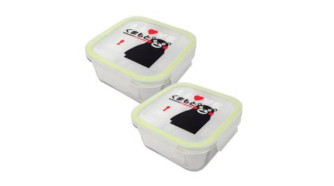 【KUMAMON】熊本熊方型玻璃保鮮盒二入