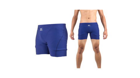 MIZUNO BASIC 男泳褲-四角 海邊 游泳 藍@85UA-30014@