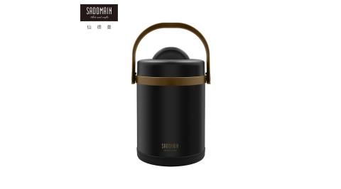 【仙德曼 SADOMAIN】316不鏽鋼經典真空斷熱保溫提鍋 -黑色-2.0L