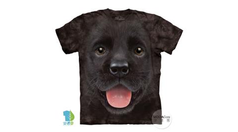 【摩達客】美國進口The Mountain  小黑拉不拉多犬微笑 純棉環保短袖T恤