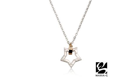 MASSA-G 【星空物語-玫瑰金】金屬鍺錠白鋼項鍊