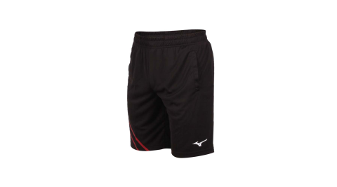 MIZUNO 男羽球短褲-針織 台灣製 吸濕排汗 運動 訓練 慢跑 美津濃 黑紅白@72TB0A1696@