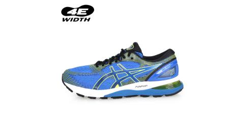 ASICS GEL-NIMBUS 21 男慢跑鞋-4E-路跑 寬楦 亞瑟士 藍螢光綠黑@1011A168-400@