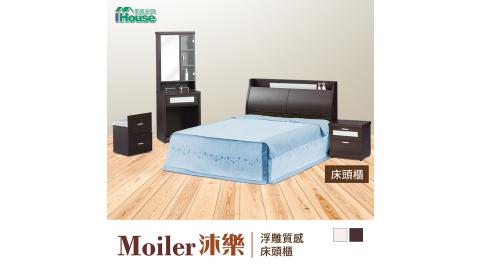 IHouse-沐樂 浮雕質感收納床頭櫃