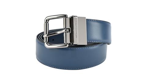 MICHAEL KORS穿扣滑面雙面用皮帶-海軍藍