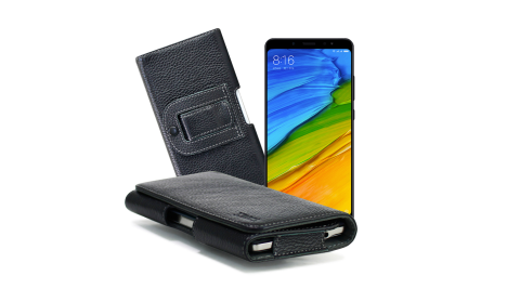 Xmart for 紅米 Note 5 / HTC Desire 12 麗緻真皮腰掛皮套