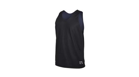 FIRESTAR男雙面訓練籃球背心球衣無袖上衣運動吸濕排汗台灣製黑丈青B170710