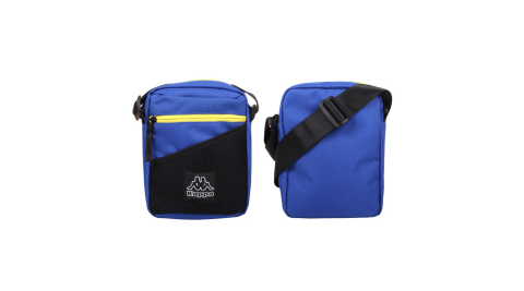 KAPPA 小型側背包-休閒 撞色 斜背包 隨身包 藍黃黑@304V2H0-741@