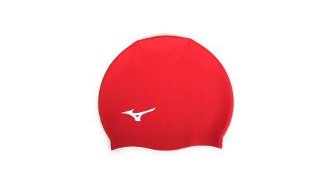 MIZUNO SWIM 矽膠泳帽-游泳 戲水 海邊 沙灘 美津濃 紅白@N2JW914000-62@