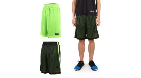 FIRESTAR 男雙面網布籃球短褲-慢跑 路跑 籃球 休閒 黑螢光綠@B6306-63@