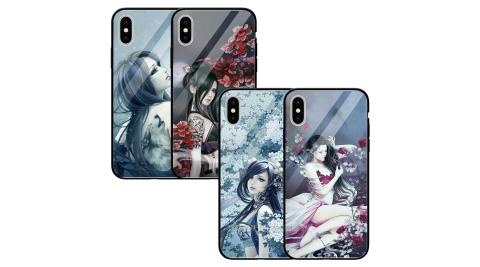 張小白正版授權 iPhone Xs / X 5.8吋 鋼化玻璃鏡面防滑手機殼