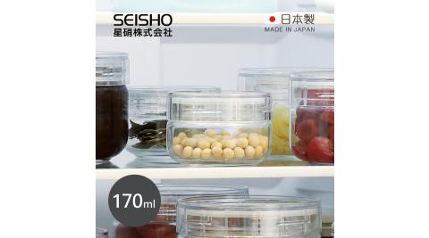 【日本星硝SEISHO】日製淺型寬口徑清透玻璃儲物罐-170ml