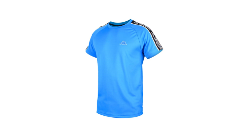 KAPPA 男圓領短袖T恤-排汗 慢跑 路跑 運動 台灣製 寶藍白黑@31199JW-ABL@