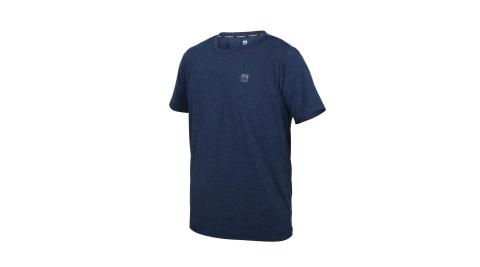 FIRESTAR 男彈性機能圓領短袖T恤-涼感 慢跑 路跑 運動 上衣 反光 丈青銀@D1731-93@