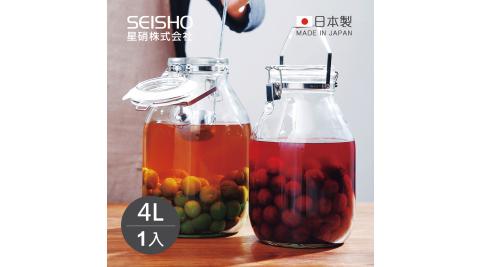 【日本星硝SEISHO】日製手提扣式玻璃密封醃漬罐-4L