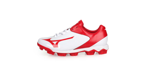 MIZUNO WAVE SELECT NINE 男棒壘球鞋-WIDE-寬楦 白紅@11GP192262@