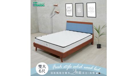 IHouse-艾文 清新風格全實木房間2件組(床台+床墊) 雙大6尺_灰白