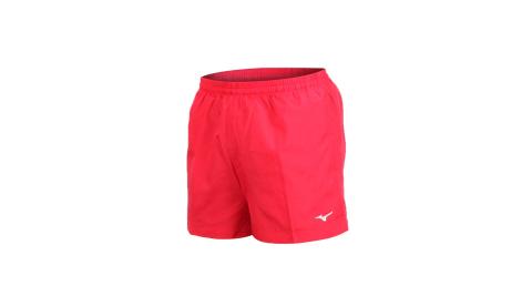 MIZUNO 男路跑短褲-慢跑 健身 訓練 三分褲 美津濃 紅白@J2TB8A0162@