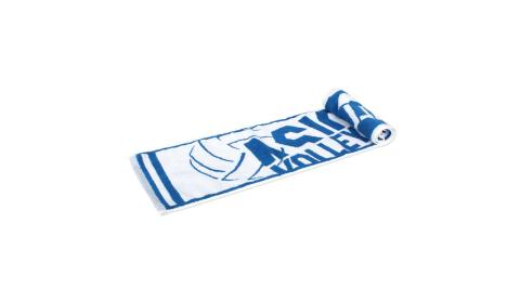ASICS 排球毛巾-亞瑟士 浴巾 純棉 白藍@Z12003-49@