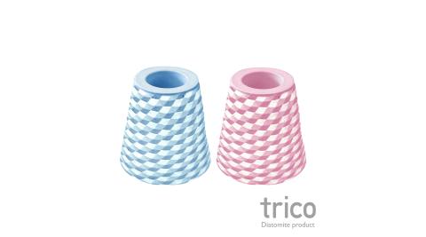 日本Trico 菱格珪藻土牙刷架(藍+粉紅)
