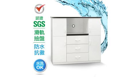 IHouse-SGS 防潮抗蟲蛀緩衝塑鋼四門三抽一拖置物電器櫃(寬120深43高112CM)