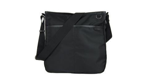 【精品週】agnes b. 雙口袋方形斜背包(大/黑)