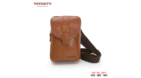 【vensers】小牛皮潮流個性腰包(NE057101黃油皮)