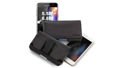 CITY for Samsung Galaxy J7 Plus/ J7+ 嚴選真皮可旋轉腰掛皮套