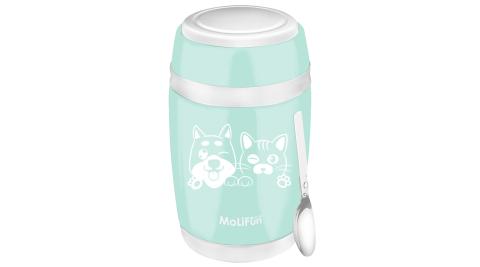 MoliFun魔力坊 不鏽鋼真空保鮮保溫燜燒食物罐550ml-清新綠(毛小孩版)