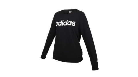 ADIDAS 女長袖T恤-大學T 圈毛 休閒 愛迪達 上衣 黑白@GL0718@