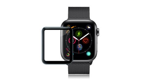 GLA Apple Watch Series 4 44mm 全膠曲面滿版疏水玻璃貼 4代專用(黑) 玻璃膜