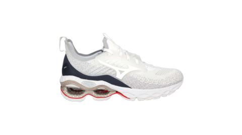 MIZUNO WAVE CREATION 22 WAVEKNIT 女慢跑鞋 白灰藍@J1GD213301@