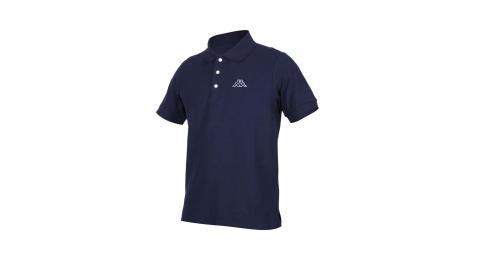 KAPPA 男短袖POLO衫-高爾夫 網球 羽球 上衣 台灣製 丈青白@311823W-B29@