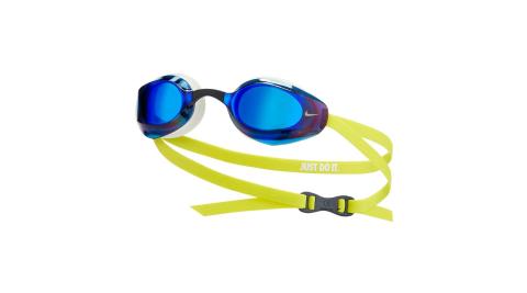 NIKE SWIM 成人專業型鏡面泳鏡-抗UV 防霧 蛙鏡 游泳 戲水 海邊 白藍黃@NESSA176-990@