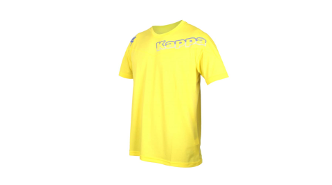 KAPPA 男圓領短袖T恤-台灣製 運動上衣 吸濕排汗 慢跑 路跑 黃紫灰@311852W-T49@