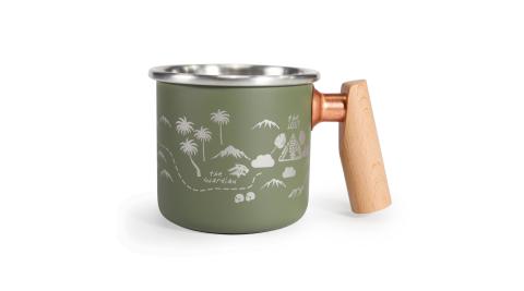 【Truvii】叢林探險 – 400ml 木柄白鐵杯  食品級304加厚不銹鋼 MIT 馬克杯