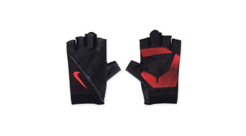 NIKE 男用動態訓練手套-短指手套 重量訓練 健身 黑橘紅@NLGB6053LG@