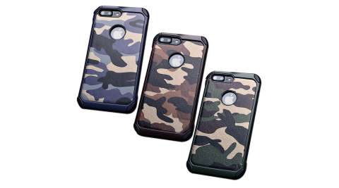 戰地風雲 iPhone 8 Plus/iPhone 7 Plus 迷彩皮革雙料防撞保護殼