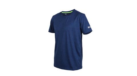 FIRESTAR 男彈性短袖圓領T恤-慢跑 路跑 麻花深藍黑@D9232-97@