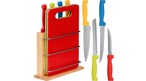 《Premier》木製收納座+砧板刀具8件_刀