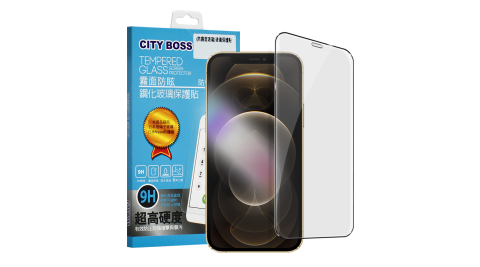 CITYBOSS For iPhone 12 Pro Max 6.7吋 霧面防眩鋼化玻璃保護貼-黑