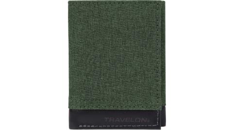 《TRAVELON》拼接三折式短夾(蒼綠)