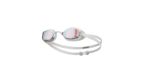 NIKE SWIM 成人專業型面鏡泳鏡-游泳 蛙鏡 抗UV 防霧 訓練 透明白@NESSA178-000@