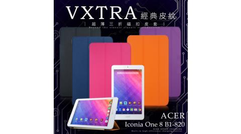 VXTRA Acer Iconia One 8 B1-820 經典皮紋超薄三折保護套