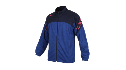 MIZUNO 男針織運動外套-立領外套 慢跑 路跑 美津濃 抗UV 吸汗速乾 藍丈青玫紅@32TC053481@