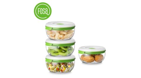 【FOSA|真鮮寶】真空保鮮盒/圓形/600ml/4個入 40600 (不含主機)