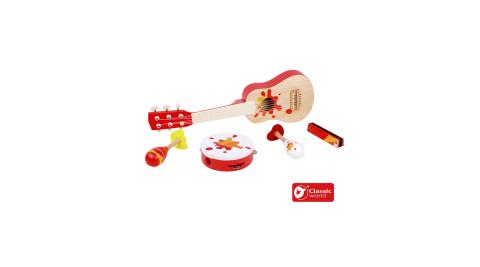 【德國 classic world 客來喜經典木玩】紅色搖滾樂器套組