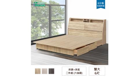 IHouse-長島 插座床頭、收納抽屜床底 二件組 雙大6尺
